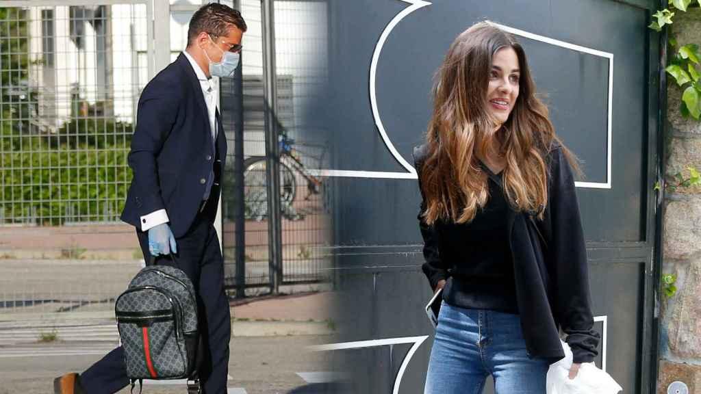 Alfonso Merlos llegando a Telecinco, y Alexia, en la puerta de la casa del periodista, donde pasa el confinamiento.