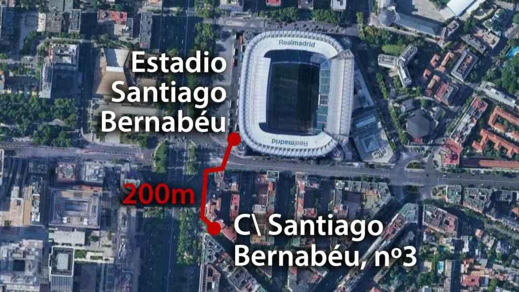200 metros separan el número 3 de la calle Santiago Bernabéu del estadio