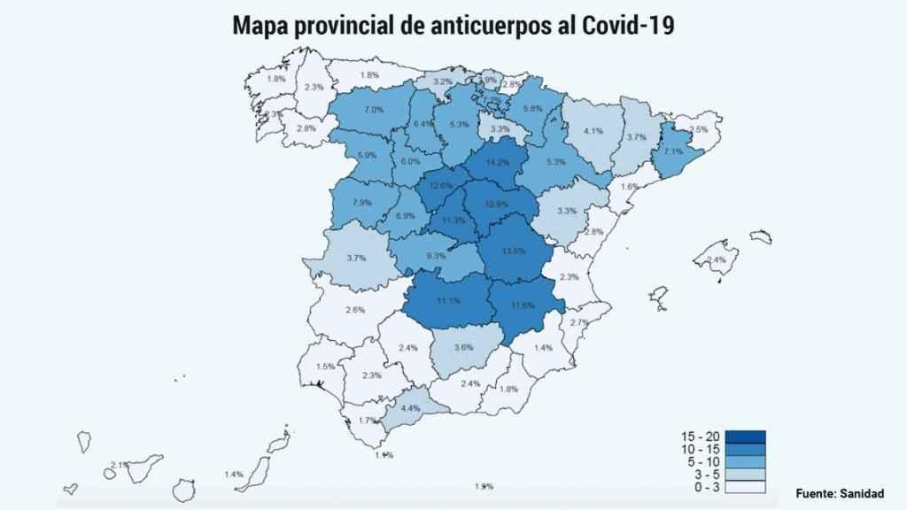 El mapa sobre la seroprevalencia en España de anticuerpos al Covid-19.
