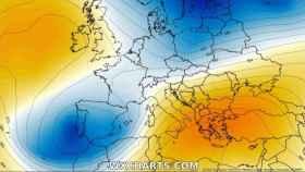 Las bajas presiones sobre España. Severe-weather.eu.