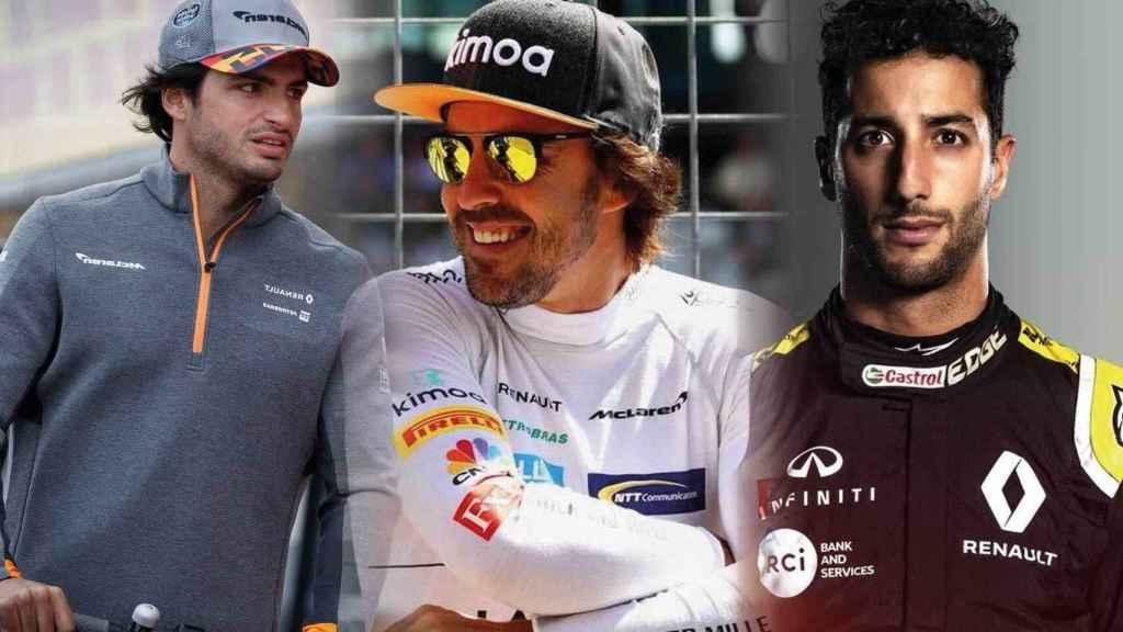 Carlos Sainz, Fernando Alonso y Daniel Ricciardo