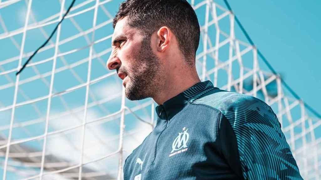 Álvaro González, en un entrenamiento del Marsella