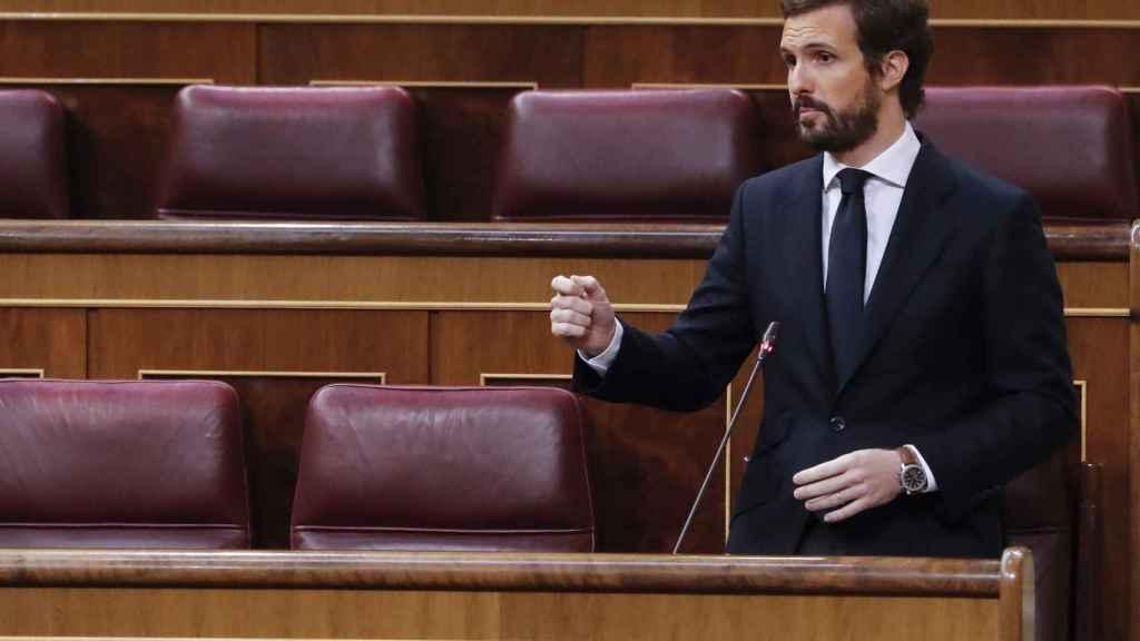 Pablo Casado, en la sesión de control al Gobierno en el Congreso.