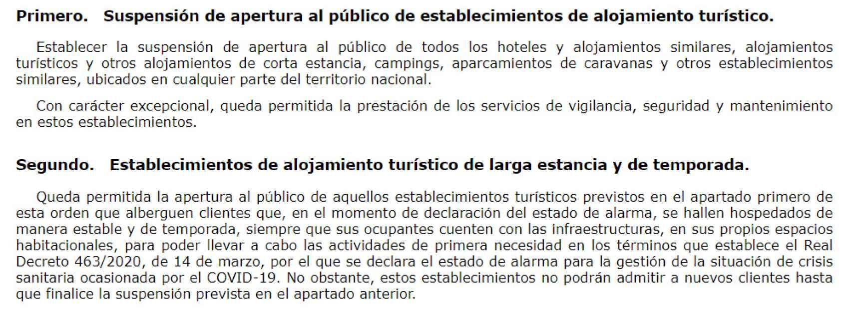 Captura de la Orden Ministerial para el cierre de hoteles.