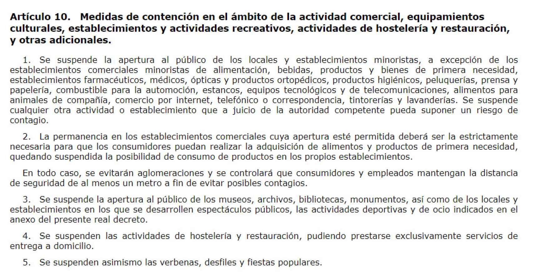 Captura del artículo 10 del decreto de estado de alarma.