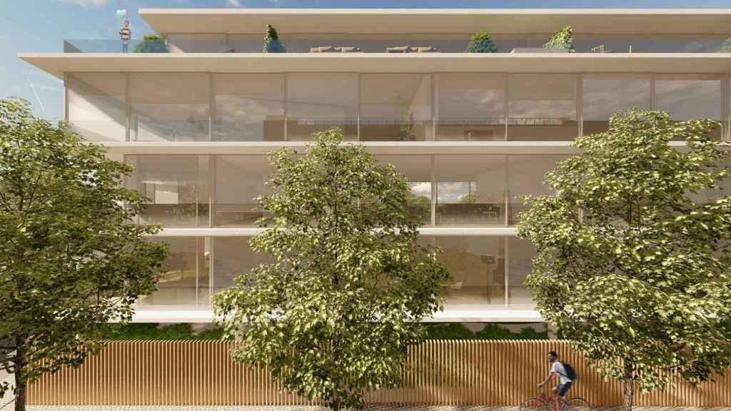 Imagen de cómo será la fachada de la promoción Javier Ferrero de Caledonian en Madrid.