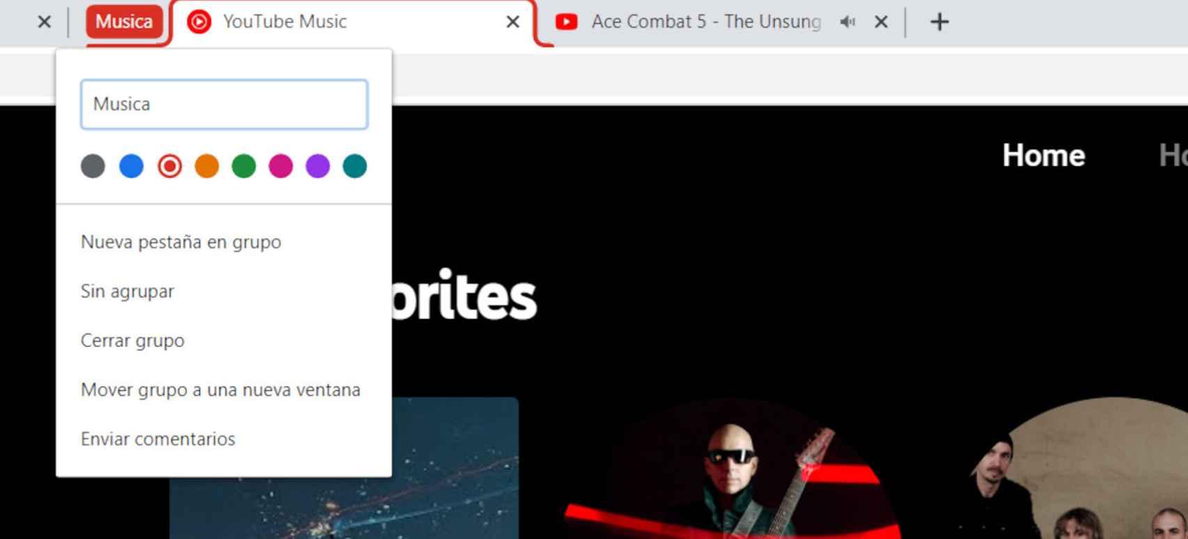 Tenemnos varias opciones para gestionar los nuevos grupos de Chrome