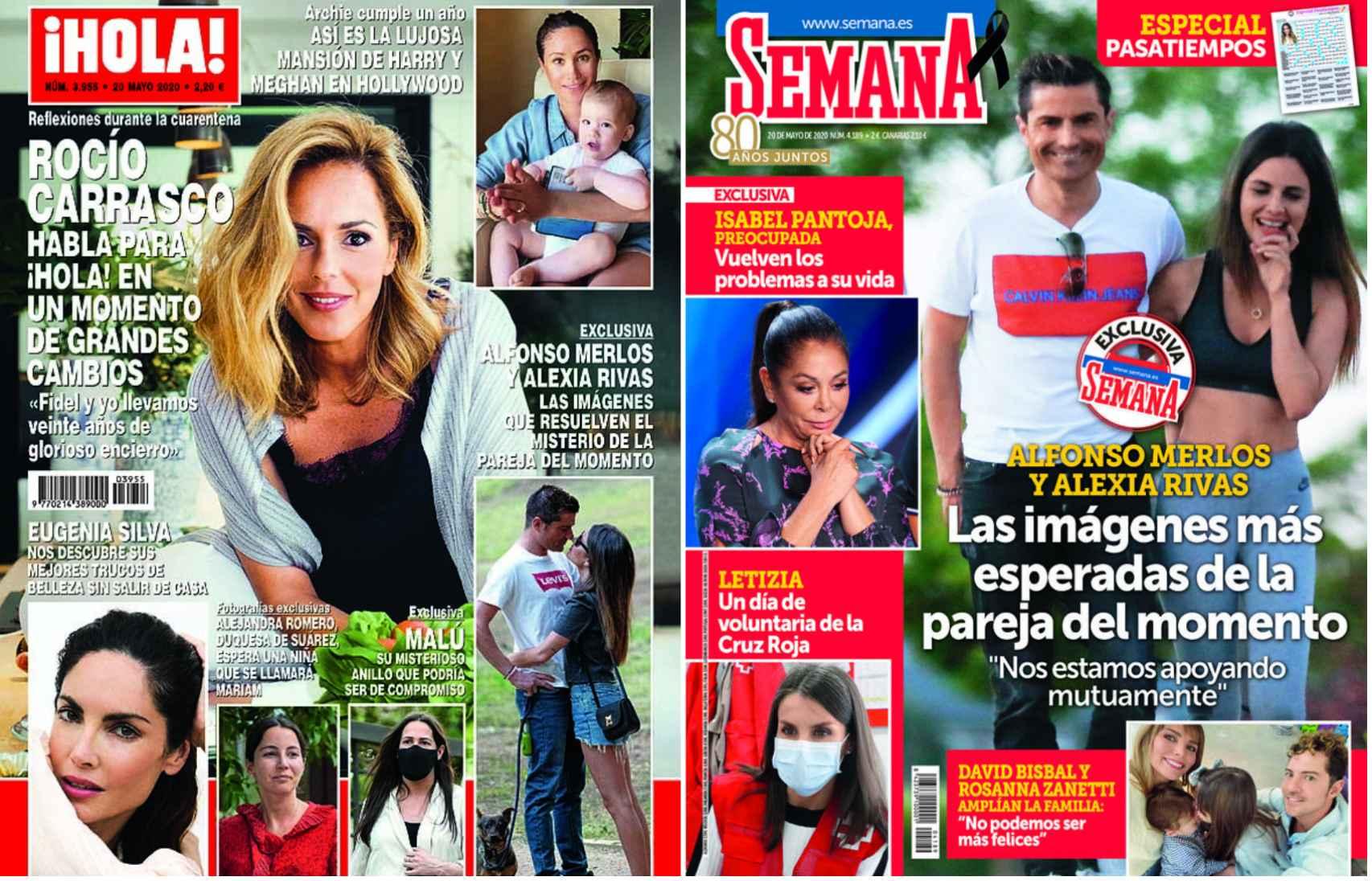 Portadas de las revistas '¡HOLA!' y 'Semana' con Alfonso Merlos y Alexia Rivas.