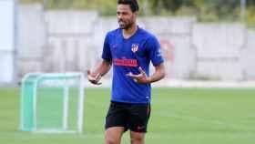 Renan Lodi, en un entrenamiento del Atlético de Madrid
