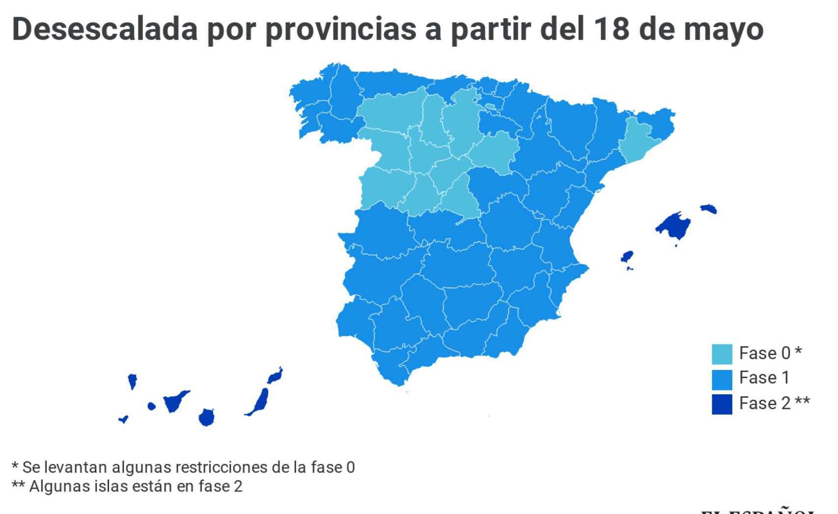 Toda España avanza a Fase 1 menos Madrid, Barcelona y zonas de Castilla y León