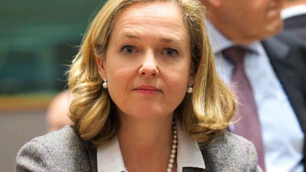 La vicepresidenta económica, Nadia Calviño, durante un Eurogrupo
