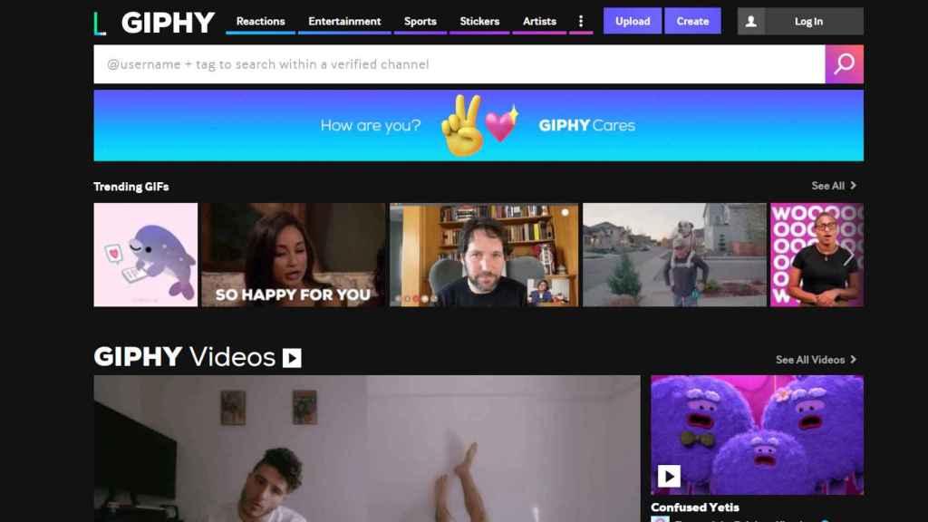 Giphy nos permite crear y encontrar gifs animados