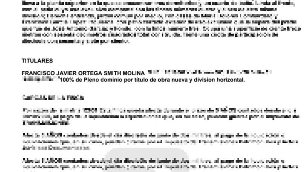 Nota del Registro en la que se acredita el 100% de la titularidad de Ortega sobre la vivienda.