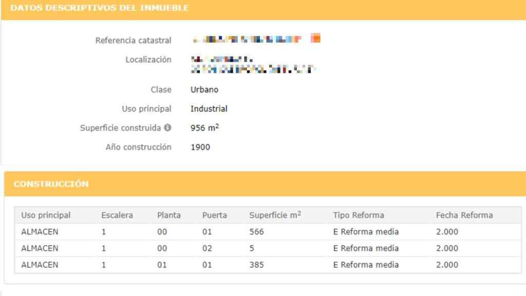 Datos públicos del Catastro en los que se establecen los usos del inmueble.