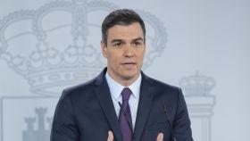 El presidente del Gobierno, Pedro Sánchez, en Moncloa este sábado.
