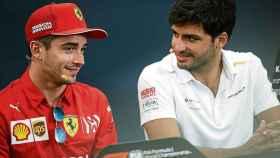 Charles Leclerc y Carlos Sainz, durante una rueda de prensa