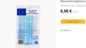 Mascarillas de Mercadona a seis euros en su página web.