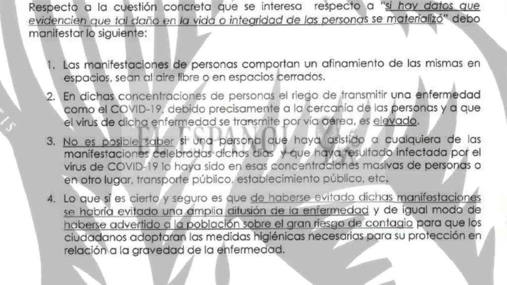 Conclusiones del informe del forense del Juzgado de Instrucción número 51 de Madrid./