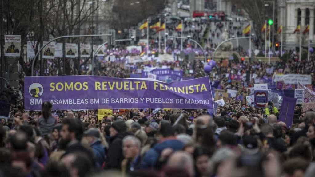 Manifestación por el Día de la Mujer el pasado 8 de marzo en el centro de Madrid.