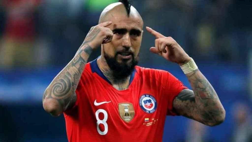 Arturo Vidal, durante un partido con la selección chilena