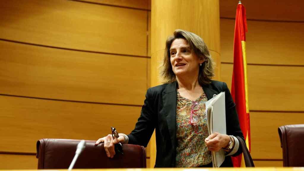 La ministra para la Transición Ecológica y el Reto Demográfico, Teresa Ribera, en el Senado en Madrid, este lunes.