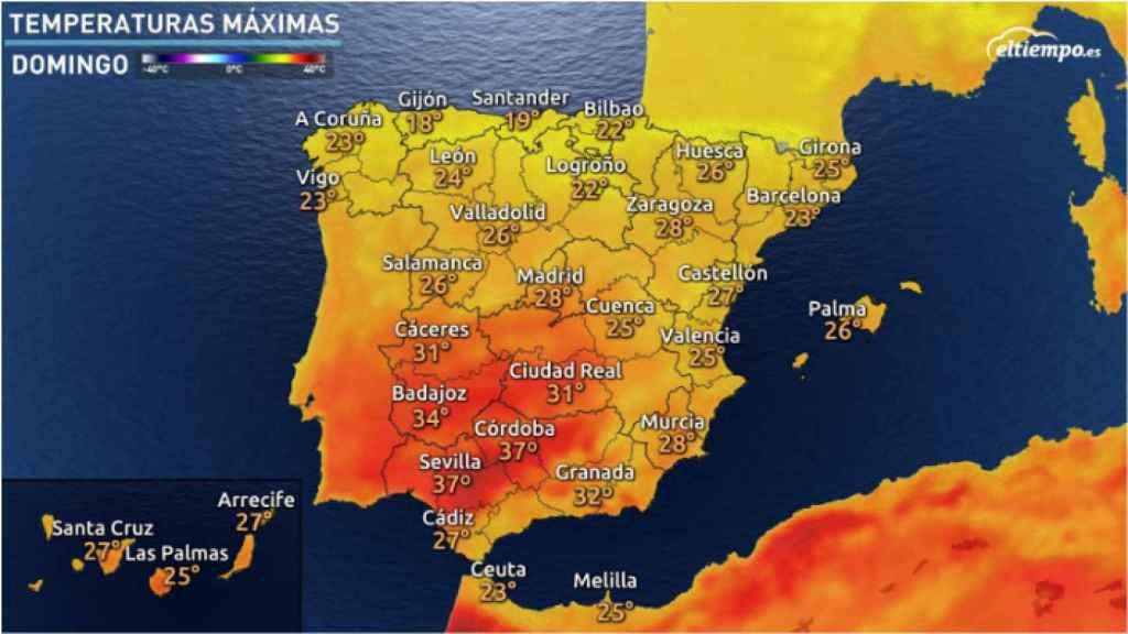 Temperaturas máximas para el próximo fin de semana según eltiempo.es.