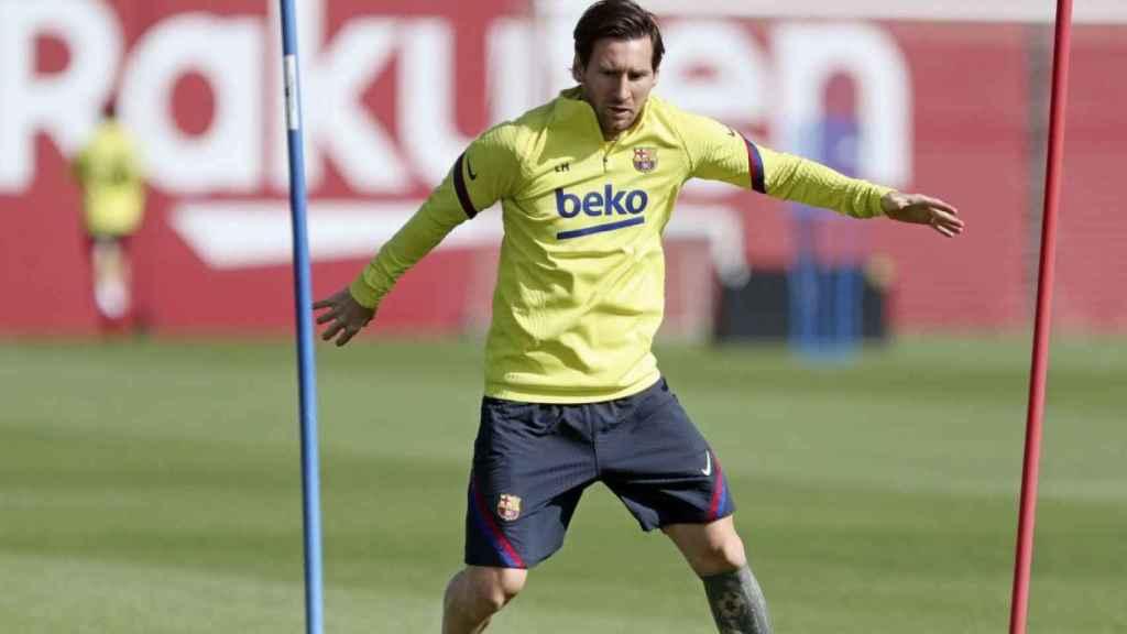 Lionel Messi, en un entrenamiento del Barcelona