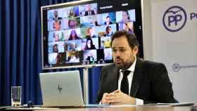 Paco Núñez, presidente del PP de Castilla-La Mancha este lunes durante una rueda de prensa telemática