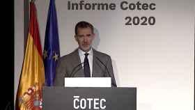 El Rey Felipe VI durante la presentación del Informe Cotec 2020.