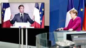 Emmanuel Macron, durante la rueda de prensa virtual de este lunes con Angela Merkel