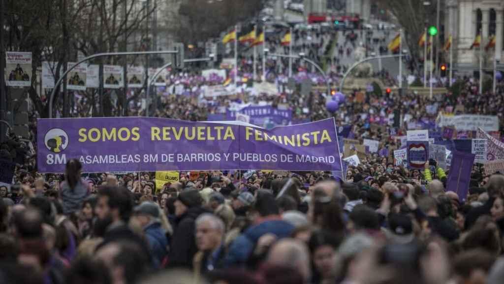 Imágenes de la manifestación del 8-M que tuvo lugar el pasado año en Madrid.