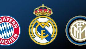 Los escudos del Bayern de Múnich, Real Madrid e Inter de Milán