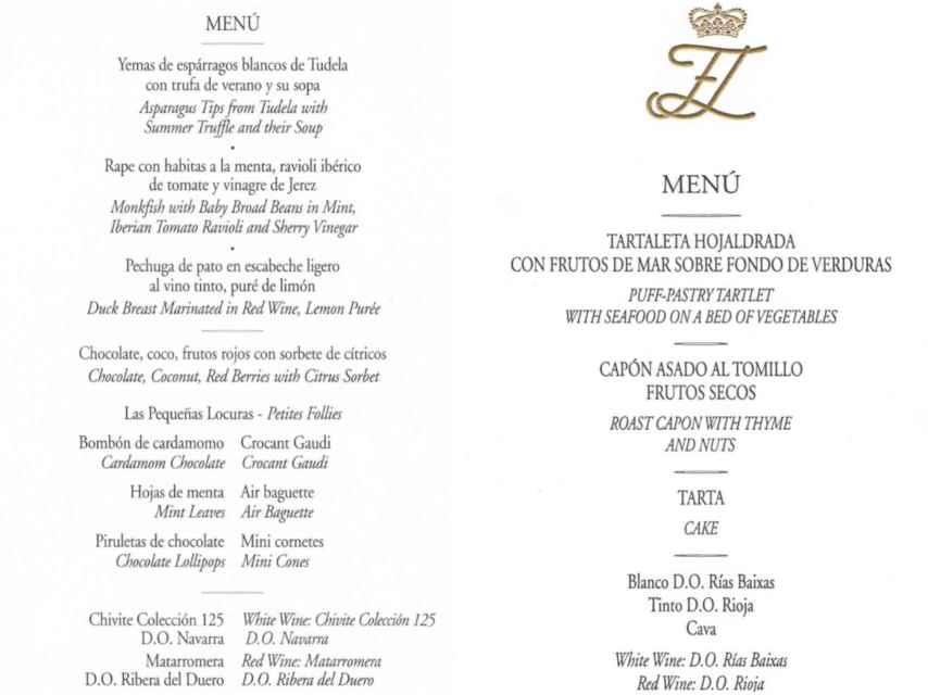Menús de la cena de la boda real del 22 de mayo de 2004.
