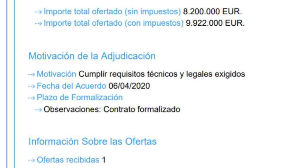 Detalle del contrato firmado con Tec Pharma Europe SL por valor de 9,9 millones de euros el 6 de abril de 2020.