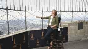 La modelo Cindy Crawford en el mirador del Empire State Building de Nueva York.