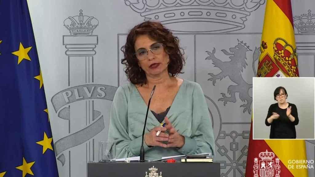 María Jesús Montero, ministra de Hacienda y portavoz, en rueda de prensa.