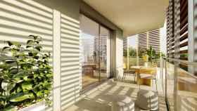 Terraza de las viviendas de la promoción Vasco de Gama con sello Ecoliving® de Aedas Homes en Palma de Mallorca.