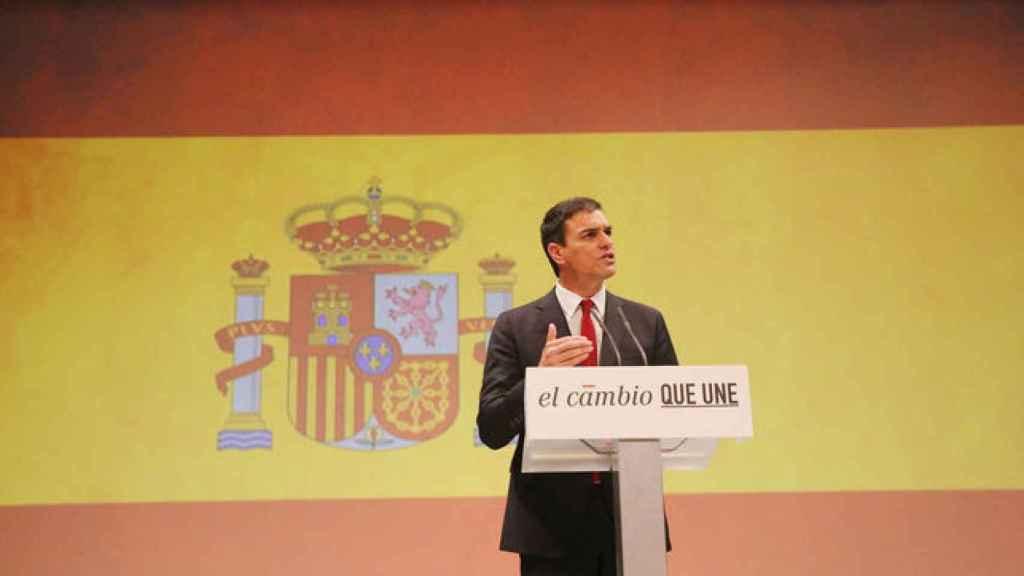 Pedro Sánchez, durante el acto de proclamación como candidato del PSOE a la Presidencia del Gobierno.