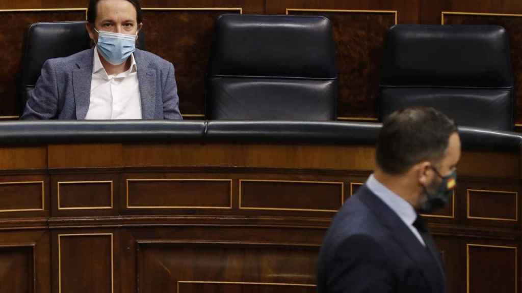 Pablo Iglesias y Santiago Abascal en el Congreso de los Diputados.