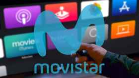 Fotomontaje con el Apple TV junto al logo de Movistar.