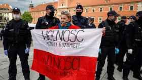Manifestación contra el Gobierno polaco en Varsovia.