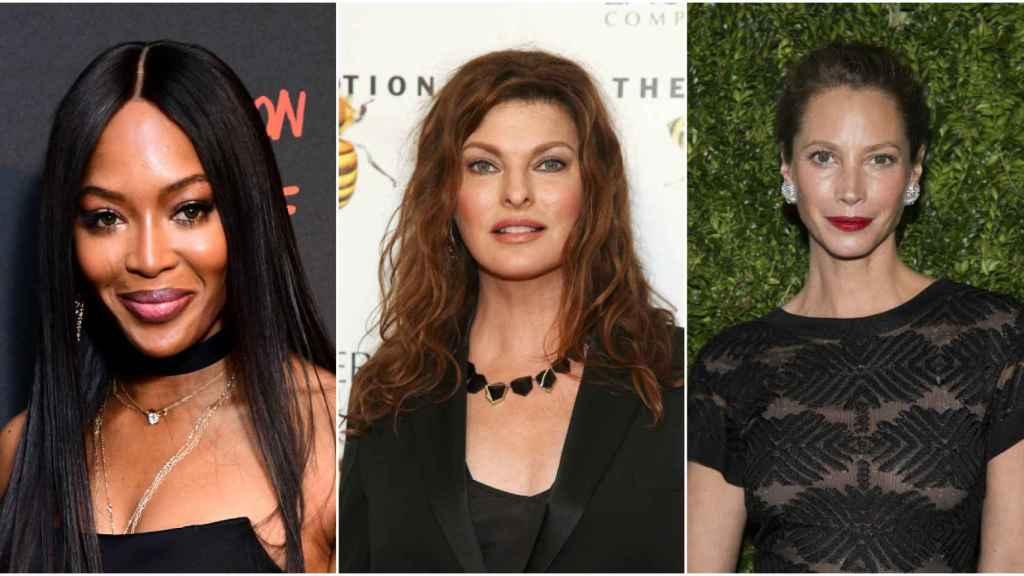 Naomi Campbell, Linda Evangelista y Christy Turlington en montaje de JALEOS.