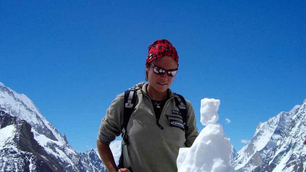 Edurne Pasabán, durante su aventura en el K2