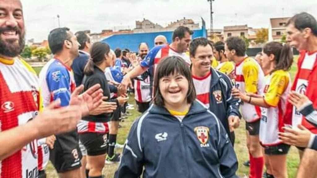 Esther, jugadora del URA Almería, sonríe al término del partido