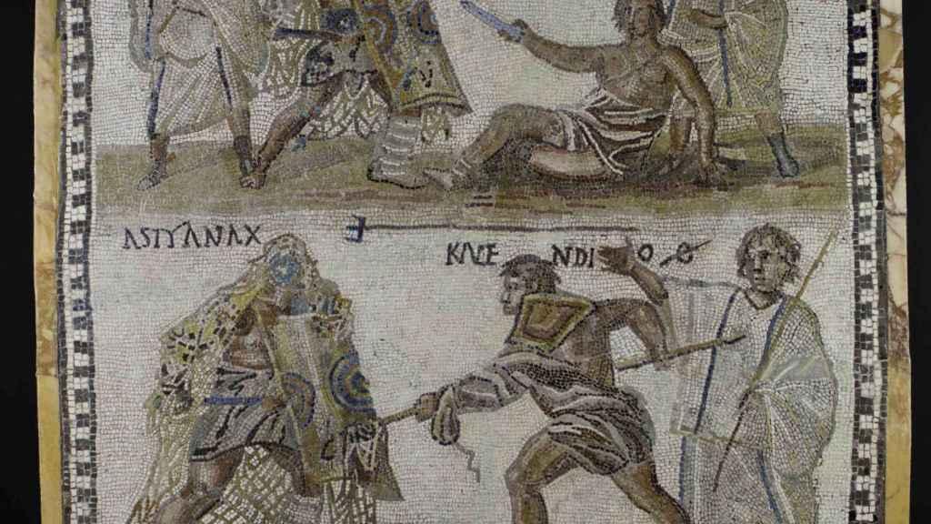 Mosaico de gladiadores.