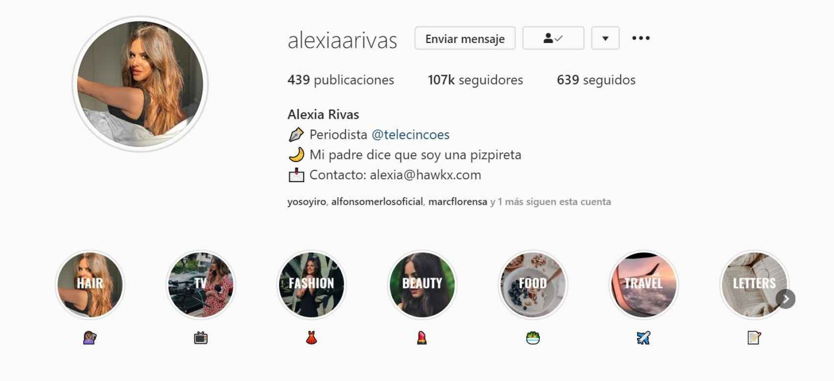 Captura del perfil de Instagram de Alexia Rivas, que ha quintuplicado sus seguidores.