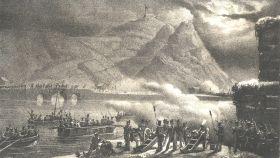 Litografía de 1846 que recrea la batalla de Luchana.