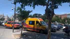 Ambulancia atascada en Madrid.