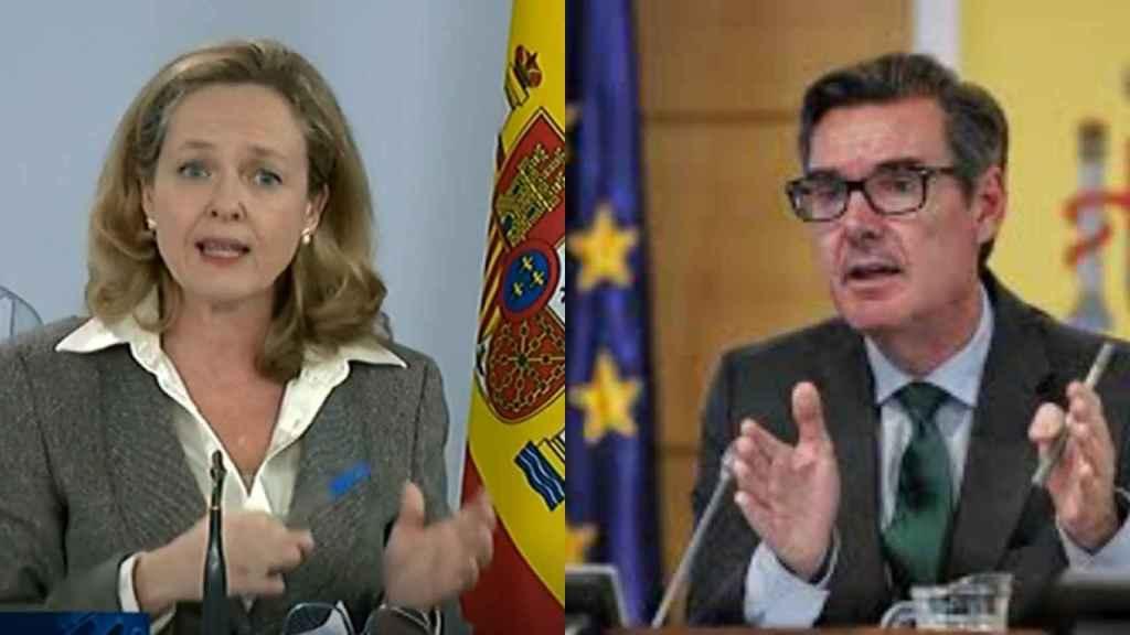 La vicepresidenta de Asuntos Económicos, Nadia Calviño, y el secretario del Tesoro, Carlos San Basilio.