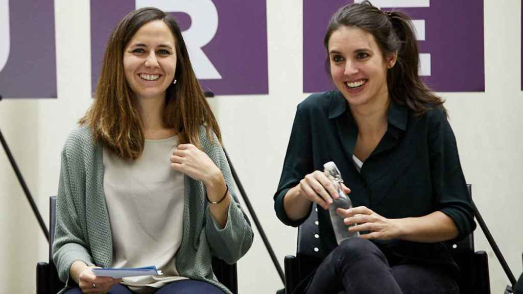 Acto electoral de Unidas Podemos con la presencia de Irene Montero y Ione Belarra.